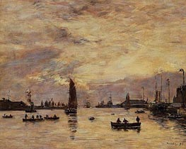 Le Havre, l'avant-port, 1894 by Eugene Boudin   Painting Reproduction
