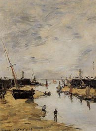 Trouville, the Jettys, Low Tide, 1894 by Eugene Boudin   Painting Reproduction