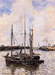 Entrance to the Port of Trouville, 1894 by Eugene Boudin   Painting Reproduction