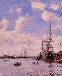 Le Haver, Le Bassin de l'eure, 1894 by Eugene Boudin   Painting Reproduction