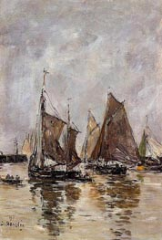 Trouville, Sardine Boats Getting Under Way, 1894 by Eugene Boudin | Painting Reproduction
