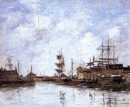 Fecamp, the Inner Harbor, 1894 by Eugene Boudin | Painting Reproduction