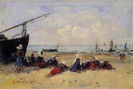 Berck, Fisherwomen on the Beach, Low Tide, 1894 by Eugene Boudin | Painting Reproduction