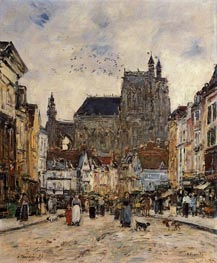 Abbeville, Street and the Church of Saint-Vulfran, 1894 by Eugene Boudin | Painting Reproduction
