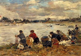 Laundresses on the Banks of the Touques, c.1894/97 by Eugene Boudin | Painting Reproduction