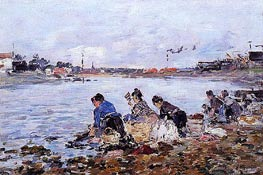 Laundress on the Banks of the Touques, c.1894/97 by Eugene Boudin | Painting Reproduction