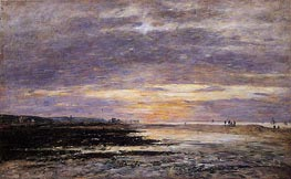 Deauville, Sunset on the Beach, 1893 by Eugene Boudin | Painting Reproduction