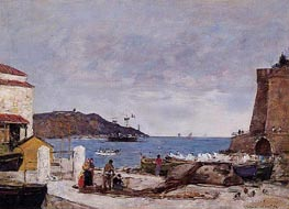 The Baye of Villefranche, the Port, 1892 by Eugene Boudin | Painting Reproduction