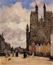Abbeville, Street and the Church of Saint-Volfran, 1892 by Eugene Boudin | Painting Reproduction