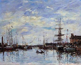 Deauville, The Basin, 1892 by Eugene Boudin | Painting Reproduction