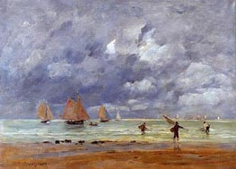 Fishermen and Sailboats near Trouville, 1892 by Eugene Boudin | Painting Reproduction
