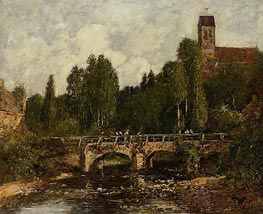 Saint-Cenery, the Church and the Bridge, 1892 by Eugene Boudin | Painting Reproduction
