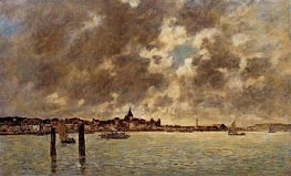 The Seine at Quillebeuf, c.1892/94 by Eugene Boudin | Painting Reproduction