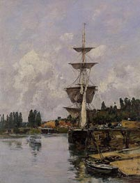 The Canal at Saint-Valery-sur-Somme, 1891 by Eugene Boudin | Painting Reproduction