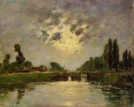 Saint-Valery-sur-Somme, the Bridge on the Lock, 1891 by Eugene Boudin | Painting Reproduction
