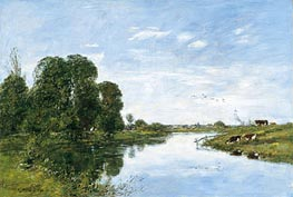 The River Touques at Saint-Arnoult, 1895 by Eugene Boudin | Painting Reproduction