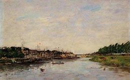 Entrance to the Port of Saint-Valery-sur-Somme, 1891 by Eugene Boudin | Painting Reproduction