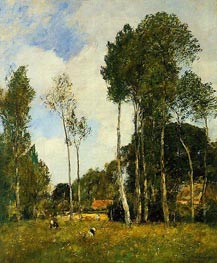 Oiseme Landscape, near Chartres, 1891 by Eugene Boudin | Painting Reproduction