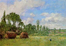 Oiseme at Harvest Time, 1891 by Eugene Boudin | Painting Reproduction