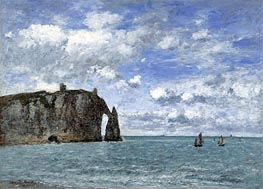 Etretat, The Cliff of Aval, 1890 by Eugene Boudin | Painting Reproduction