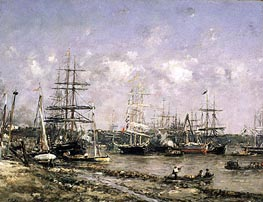 Bordeaux, the Port, undated by Eugene Boudin | Painting Reproduction