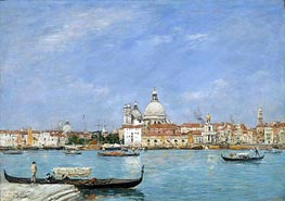 Venice, Santa Maria della Salute from San Giorgio, 1895 by Eugene Boudin | Painting Reproduction