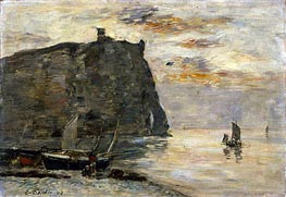 Falaises a Etretat, 1894 by Eugene Boudin | Painting Reproduction