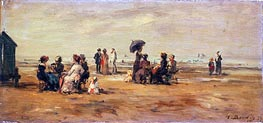 The Beach at Trouville, 1879 by Eugene Boudin | Painting Reproduction