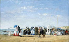 Fashionable Figures on the Beach, 1865 by Eugene Boudin | Painting Reproduction