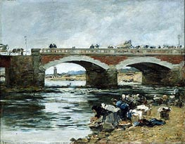 Washerwomen near a Bridge, 1883 by Eugene Boudin | Painting Reproduction