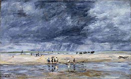 Figures on the Beach, 1893 by Eugene Boudin | Painting Reproduction