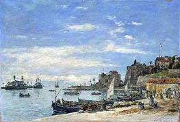 Quay at Villefranche, 1892 by Eugene Boudin | Painting Reproduction