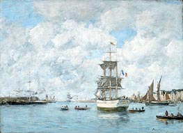 Port of Le Havre, c.1886 by Eugene Boudin | Painting Reproduction