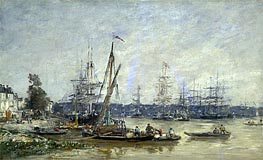 Harbor at Bordeaux, 1874 by Eugene Boudin | Painting Reproduction
