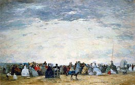 Vacationers on the Beach at Trouville, 1864 by Eugene Boudin | Painting Reproduction