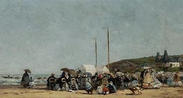 Trouville Beach, 1864 by Eugene Boudin | Painting Reproduction