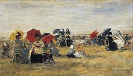 Beach Scene at Trouville, 1880 by Eugene Boudin | Painting Reproduction