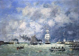 Port of Le Havre, 1887 by Eugene Boudin | Painting Reproduction