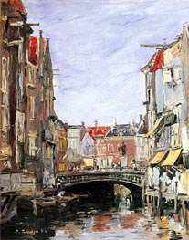 The Place Ary Scheffer, Dordrecht, 1884 by Eugene Boudin | Painting Reproduction