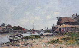 The Bridge over the River Touques at Deauville, 1894 by Eugene Boudin | Painting Reproduction