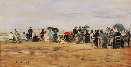 Beach at Trouville, 1880 by Eugene Boudin | Painting Reproduction