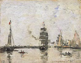 Boats in Trouville Harbor, 1894 by Eugene Boudin | Painting Reproduction