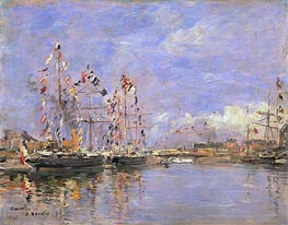 Deauville, Flag-Decked Ships in the Inner Harbor, 1896 by Eugene Boudin | Painting Reproduction