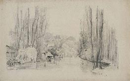 River Landscape with Houses and Bridge, late 1850s by Eugene Boudin | Painting Reproduction