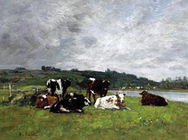 Cows in the Pasture, c.1880/85 by Eugene Boudin | Painting Reproduction