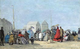 Beach Scene at Trouville, 1864 by Eugene Boudin | Painting Reproduction