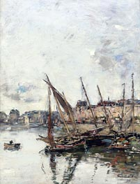 The Harbour of Trouville, Low Tide, 1894 by Eugene Boudin | Painting Reproduction