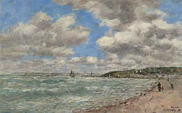 The Shore of Deauville, 1896 by Eugene Boudin | Painting Reproduction
