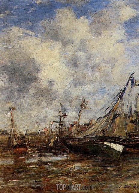 Trouville, Low Tide, undated | Eugene Boudin | Gemälde Reproduktion