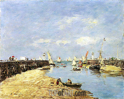 Eugene Boudin | Trouville, the Jettys, Low Tide, 1896